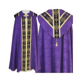 Kapa semi gotycka fioletowa - tkanina żakard (76)