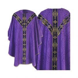 Ornat fioletowy semi gotycki - tkanina żakard (59)
