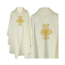 Ornat gotycki ecru haftowany - tkanina gładka (40)