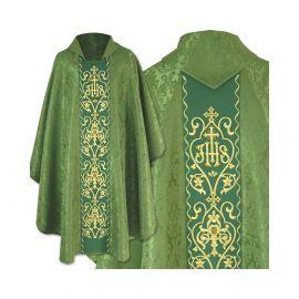 Ornat gotycki zielony haftowany - tkanina żakard (41)