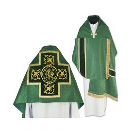 Welon liturgiczny zielony z frędzlami (39)