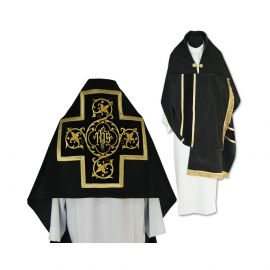 Welon liturgiczny czarny z frędzlami (40)