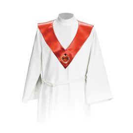 Szkaplerz ministrancki - czerwony Serce w koronie (kolory liturgiczne)
