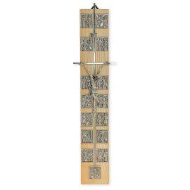 Krzyż z drogą krzyżową - jasne drewno (3)