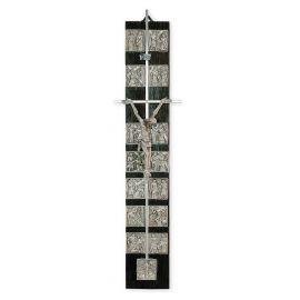 Krzyż z drogą krzyżową - ciemne drewno (4)