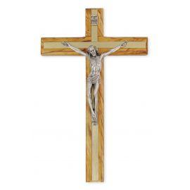 Krzyż z drzewa oliwnego inkrustowany metalem (2)