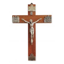 Krzyż drewniany z wizerunkami bazylik rzymskich
