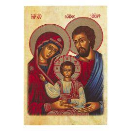 Święta Rodzina - Ikona dwustronna z modlitwą format A4 brokat