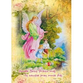 Anioł Stróż - Ikona dwustronna z modlitwą format A5 (Brokat 5)