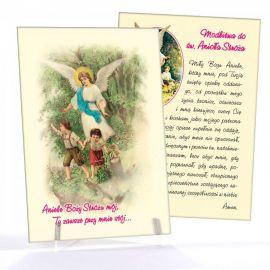 Anioł Stróż - Ikona dwustronna z modlitwą format A5 (Brokat 6)
