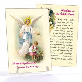 Anioł Stróż - Ikona dwustronna z modlitwą format A5 (Brokat 7)