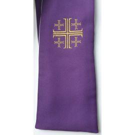 Stuła dwustronna kapłańska - biało-fioletowa (M)