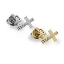 Krzyżyk dekorowany wpinany złoty - przypinka