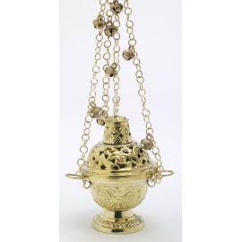 Trybularz mosiężny 16 cm, kolor złoty z dzwoneczkami