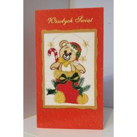 Kartka z obrazkiem haftowanym - Wesołych Świąt