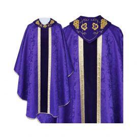 Ornat gotycki fioletowy haftowany kołnierz - tkanina gładka (47)