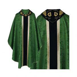 Ornat gotycki zielony haftowany kołnierz - tkanina gładka (48)