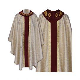 Ornat gotycki brokatowy, haftowany kołnierz - tkanina gładka (48)