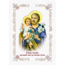 Święty Józef - Ikona dwustronna z modlitwą format A5 (3)