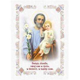 Święty Józef - Ikona dwustronna z modlitwą format A5 (4)