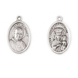 Medalik metalowy MB Częstochowska, św. Jan Paweł II