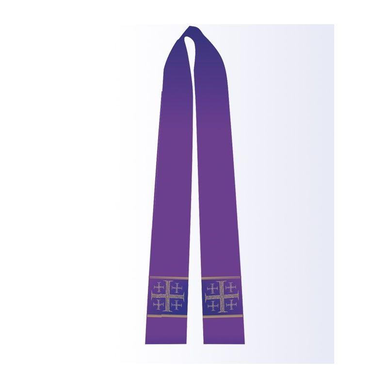 Stuła fioletowa z krzyżem jerozolimskim