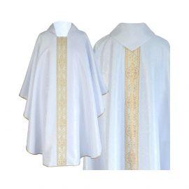 Ornat semi gotycki biały - tkanina żakard (69)