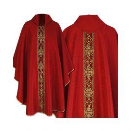 Ornat semi gotycki czerwony - tkanina żakard (70)
