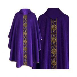 Ornat semi gotycki fioletowy - tkanina żakard (71)