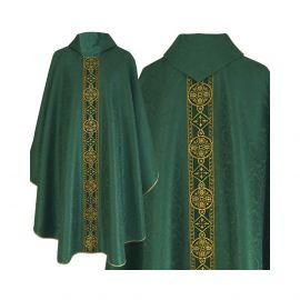 Ornat semi gotycki zielony - tkanina żakard (71)
