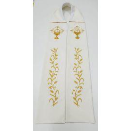 Stuła kapłańska ecru haftowana - kłosy, kielich (1)