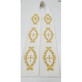 Stuła kapłańska ecru haftowana - IHS, Krzyż (2)