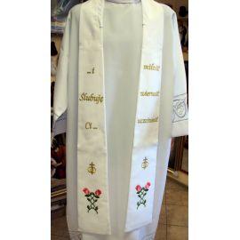 Stuła ślubna biała, haftowana (6)