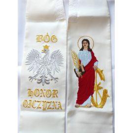 Stuła haftowana Św. Katarzyna + napis Bóg, Honor i Ojczyzna