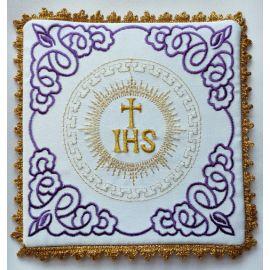Palka haftowana ecru, fiolet IHS (5)
