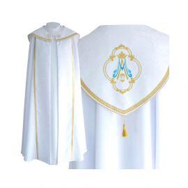 Kapa biała wzór Maryjny - tkanina gabardyna (24)
