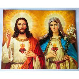 Serce Jezusa , Serce Maryi - Obraz do oprawienia format (20x25)