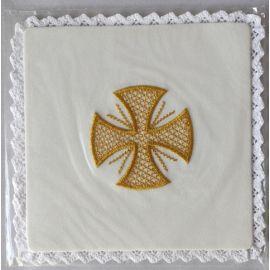 Palka haftowana ecru - Krzyż