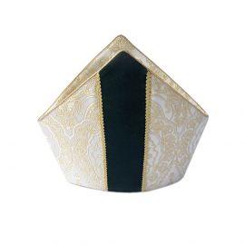Mitra tkanina brokatowa z aksamitnymi pasami