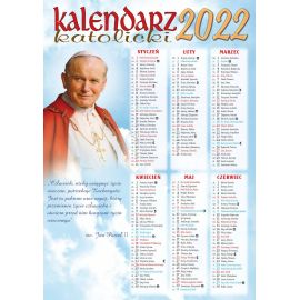 Kalendarz katolicki z Janem Pawłem II i kardynałem Wyszyńskim - B4 na 2022 rok
