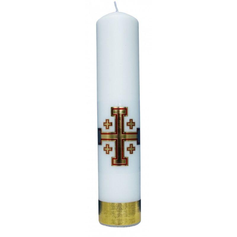 Świeca liturgiczna z naklejką - Krzyż Jerozolimski