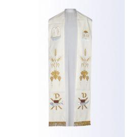 Stuła ecru z motywem eucharystycznym