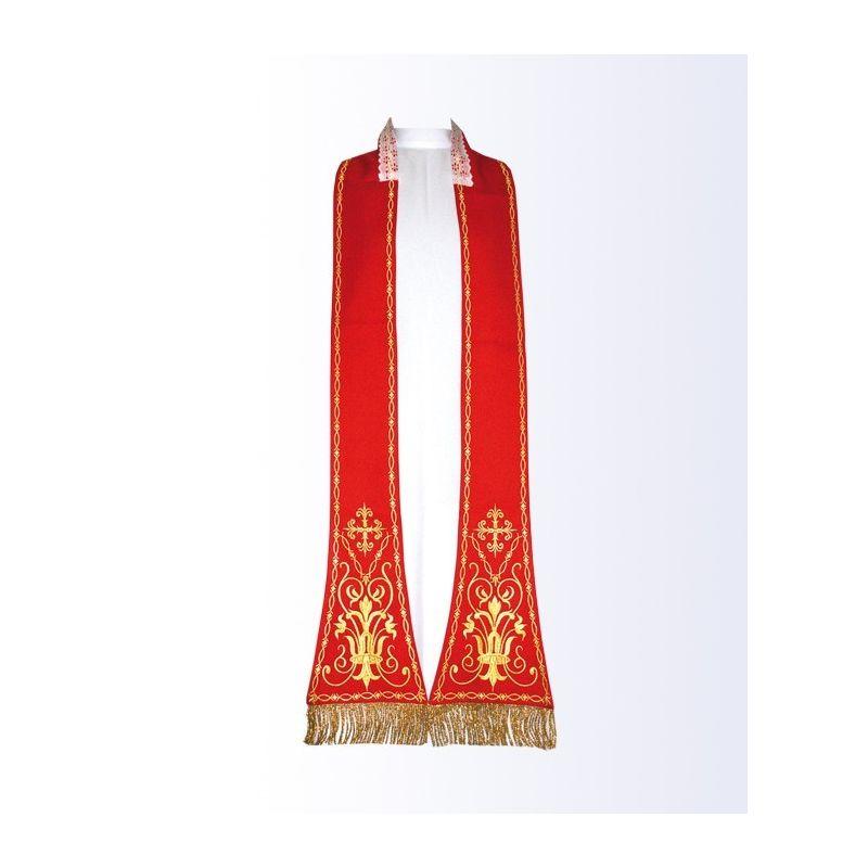 Stuła czerwona z motywem eucharystycznym