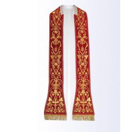 Stuła czerwona z motywem eucharystycznym - 130 cm