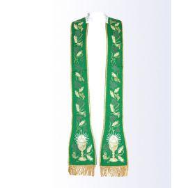 Stuła zielona z motywem eucharystycznym