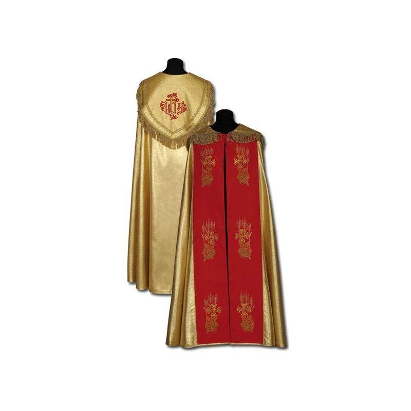 Kapa złota pasy czerwone - haft ręczny