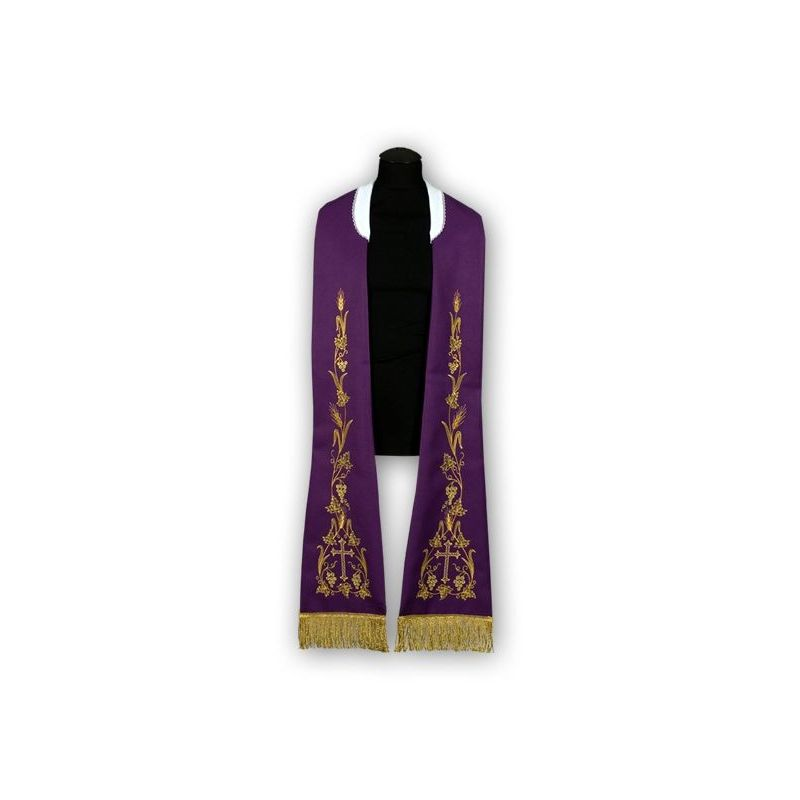 Stuła fioletowa -  wzór rzymski, haftowana (186)