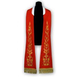 Stuła czerwona - wzór rzymski, haftowana (183)