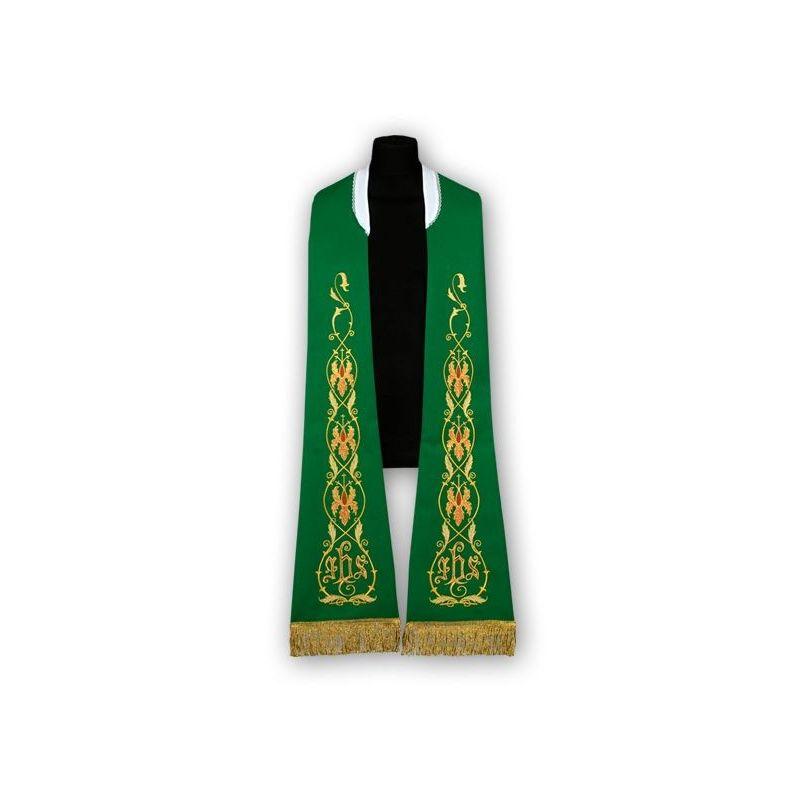 Stuła zielona - wzór rzymski, haftowana (184)