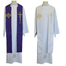 Stuła kapłańska dwustronna  fioletowo-biała IHS